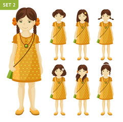 Collection of cute little brunet girls with different hairstyles. Full-length portrait. Set of cartoon characters. Vector illustration.