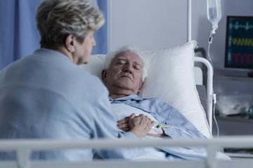 Elder man in coma