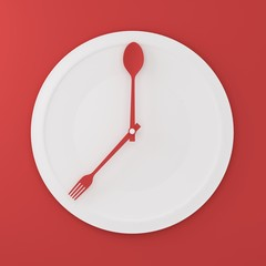 Top view of Spoon and fork on white round plate in a form of clock on red background. minimal food idea concept. Idea creative to produce work and advertising marketing communications and Websites.