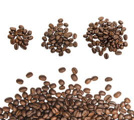 Set of roasted coffee beans isolated on white background.