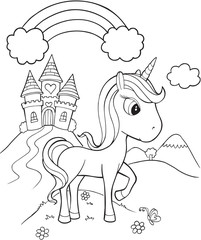 Photo sur cadre textile Cartoon draw Unicorn Castle Vector Illustration Art