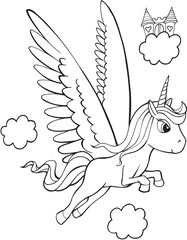 Papiers peints Cartoon draw Pegasus Unicorn Vector Illutration Art