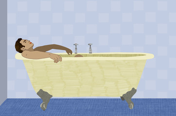 Guy taking a bath