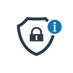 Security icon with information sign. Security icon and about, faq, help, hint symbol