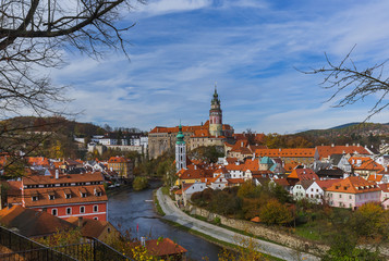 Autocollant pour porte Cracovie Cesky Krumlov cityscape in Czech Republic