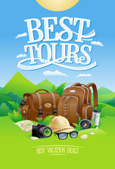 Best tours design with mountain landscape background