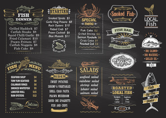 Fish menu chalkboard desigs set