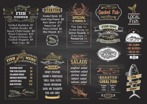 Fish menu chalkboard desigs set