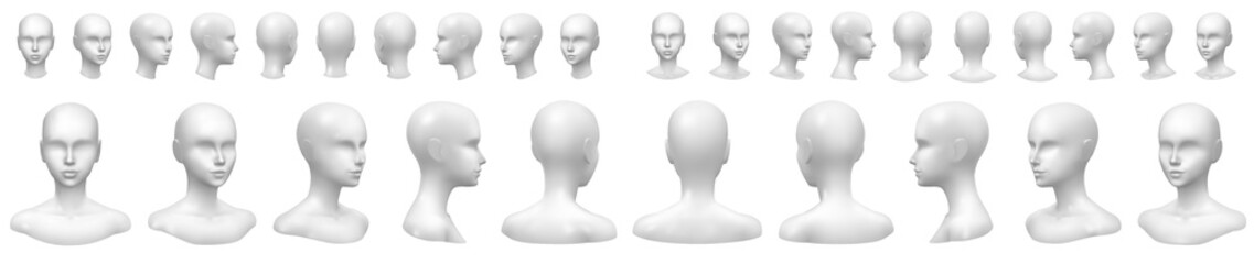 Isolated vector set of faceless mannequin busts and heads. Fotoväggar
