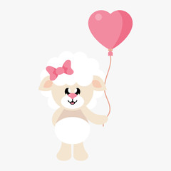cartoon cute sheep girl with bow and lovely balloons