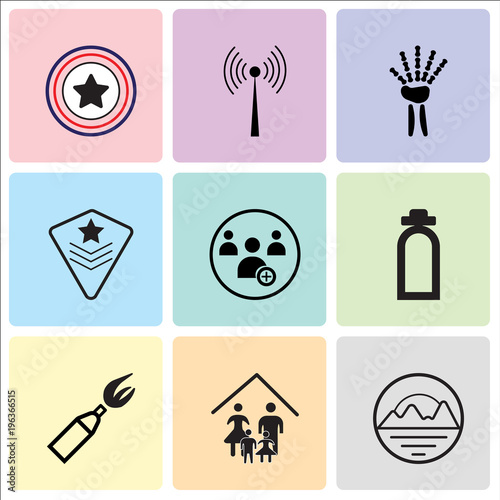 771755cf Set Of 9 simple editable icons such as pinnacle, our family, anarchy, fire  dept, become a member, air force, radiologist, rf, Airforce, can be used  for ...