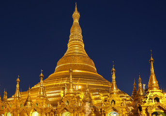 the golden stupa of the Shwedagon Pagoda Yangon in Myanmar