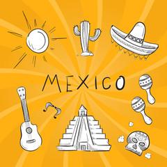 Hand drawn mexico symbol stickers set
