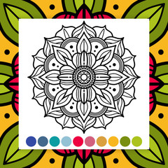 Oriental flower mandala. Antistress adults coloring page