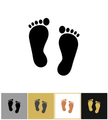 Human foot print icon, footprints symbol on gold and white background