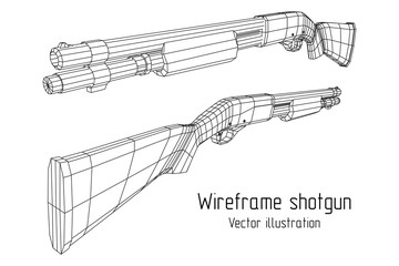Shotgun rifle hunting carbine wireframe low poly mesh vector illustration
