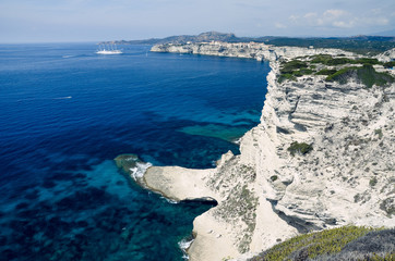 View over the white limestone cliffs of Bonifacio in Corsica, France, Europe