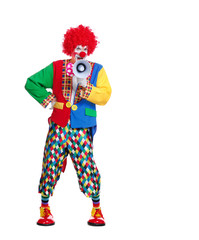 Full length picture of a clown speaking into loudspeaker