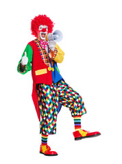 Walking clown with loudspeaker showing thumbs up full length picture