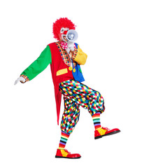 Full length  picture of a walking clown with loudspeaker