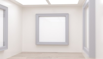 3D rendering Of Realistic Modern Gallery Room With Big Empty Frame