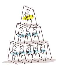 Cartoon Leadership and Cards Pyramid