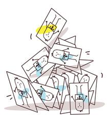 Cartoon Collapsing Business Cards Pyramid