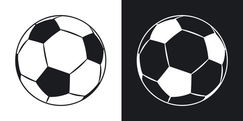 Vector football icon. Two-tone version on black and white background