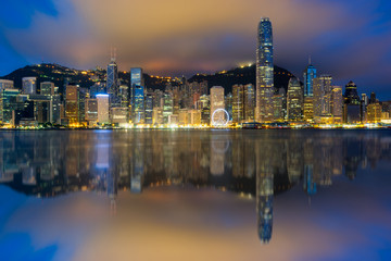 Wall Mural - Hong Kong City skyline at sunrise. View from across Victoria Harbor Hongkong.