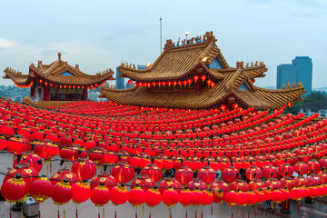 Wall Murals Kuala Lumpur Sunset scene of red lanterns decorations in chinese temple name is Thean Hou Temple at Kuala Lumpur, Malaysia. This place is famous during the celebration of Chinese New Year.