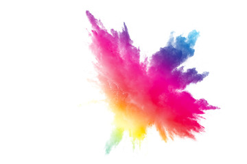 Abstract multicolored powder explosion on white background.  Freeze motion of color dust  particles splash. Painted Holi
