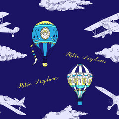 Seamless pattern with clouds, hot air balloons and airplanes
