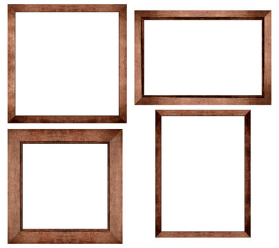 Set of Brown wood frame or photo frame isolated on white background. Object with clipping path