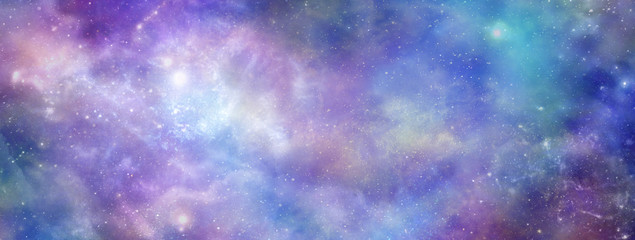 Colourful Cosmic Galactic Space Background banner - Vibrant deep space panoramic view with many different stars, planets and cloud formations