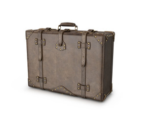 Leather suitcase on a white background. 3D illustration