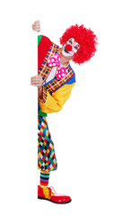 Full length  picture of a clown holding vertical blank board against white background