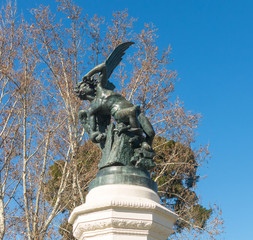 Fountain of Fallen Angel, highlight of Buen Retiro Park. Buen Retiro Park. Madrid, Spain
