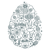 easter holiday egg shaped composition with flat color line symbols
