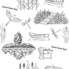 Seamless pattern with  with boat and trees