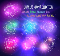 line art chakras on outer space background