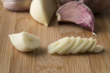 Fresh sliced garlic