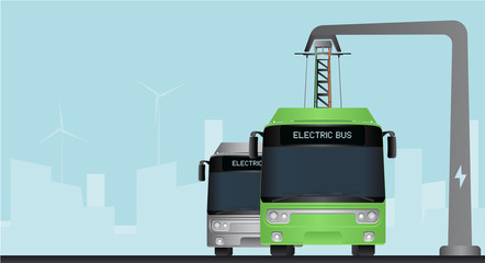Green electric bus at a stop is charged by pantograph. Vector illustration EPS 10