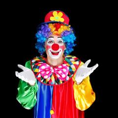 Clown over black background closeup portrait