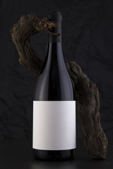Isolated Red Wine Bottle in a Black Background with a Vine