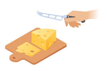 Flat isometric illustration of cutting board, peice of cheese head, kitchen knife. Sliced yellow pieces with holes on a wooden board, hand with cheese knife cuts a maasdam. Vector cooking concept.