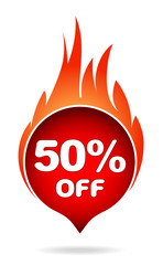 50 percent off red blazing speech bubble, sticker, label or icon with shadow and flame for your design.