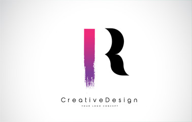 R Letter Logo Design with Creative Pink Purple Brush Stroke.