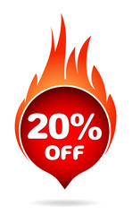 20 percent off red blazing speech bubble, sticker, label or icon with shadow and flame for your design.