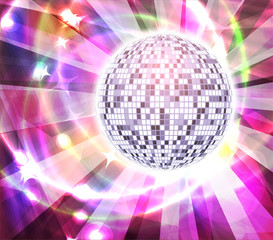 Very bright full color mirror disco ball with rays, vector illustration for your design