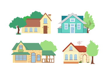 Vector illustration set of cottage houses with trees on white background in flat cartoon style.